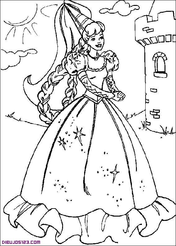 Barbie y la princesa cantando Dibujos de Barbie para colorear