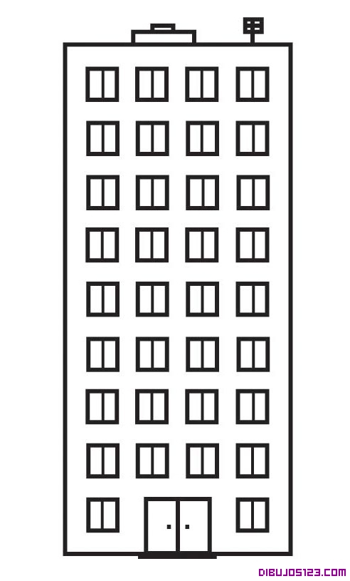 Bloque de apartamentos para coloear