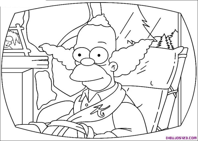 Dibujo de Krusty el payaso en la cama