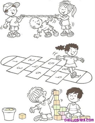 Dibujo de niños jugando en la calle