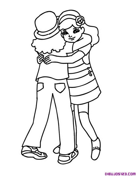 Dibujo de amigas abrazándose