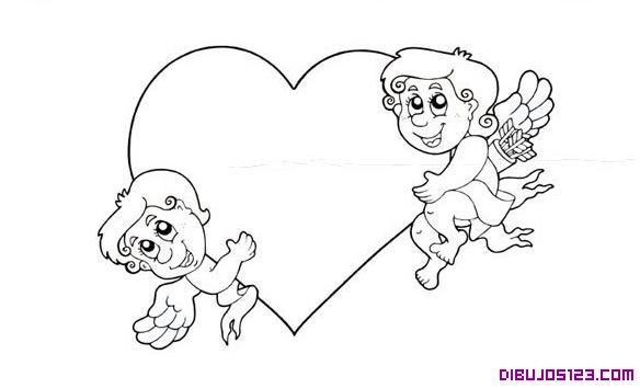Dos cupidos en un corazon para colorear - Imagui