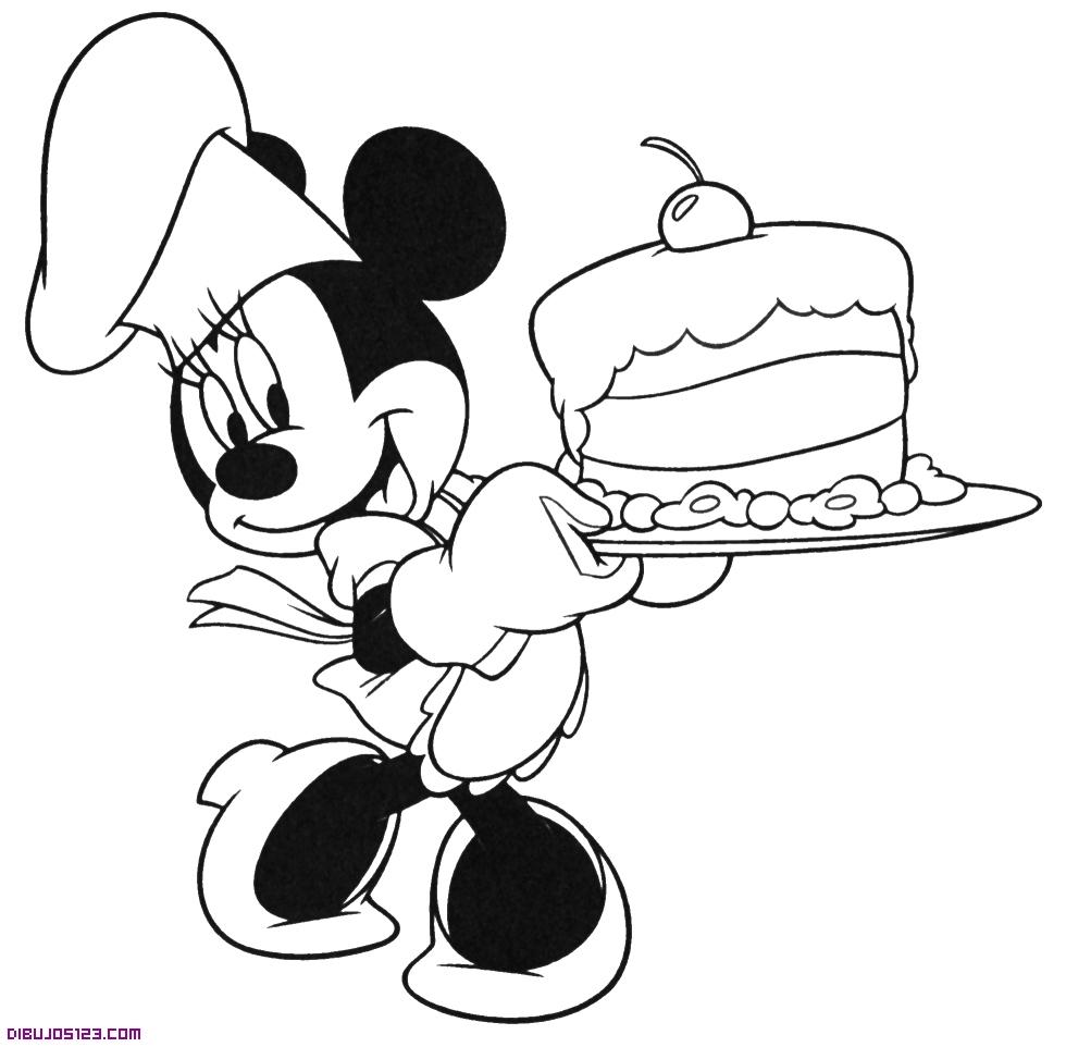 Minnie con una tarta de cumpleños
