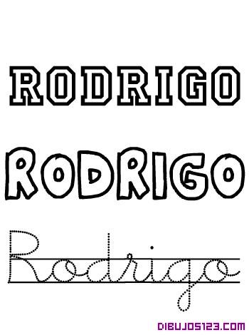 Aprende a escribir Rodrigo y colorea