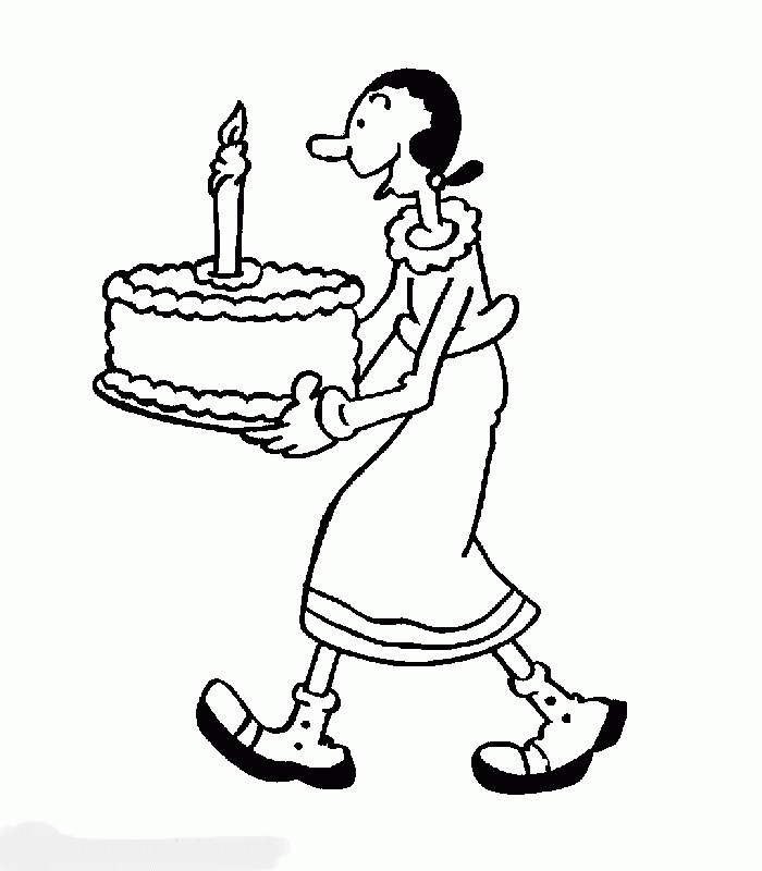 Olivia con una tarta