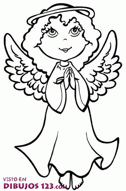 Precioso ángel para colorear