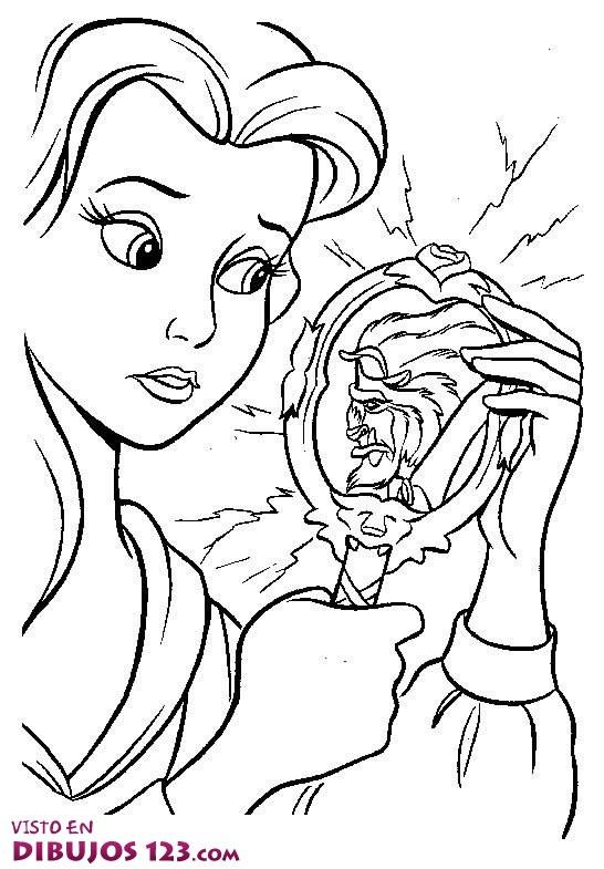 Bella ve a Bestia a través de un espejo