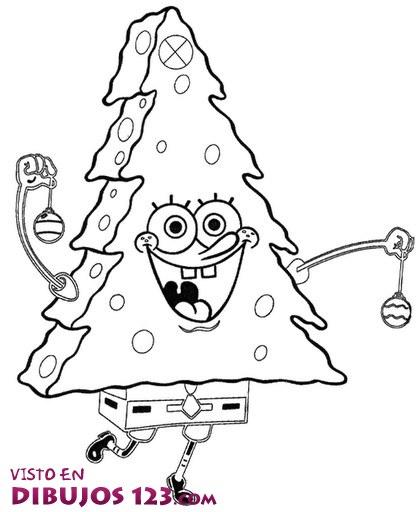 Bob Esponja convertido en árbol de Navidad