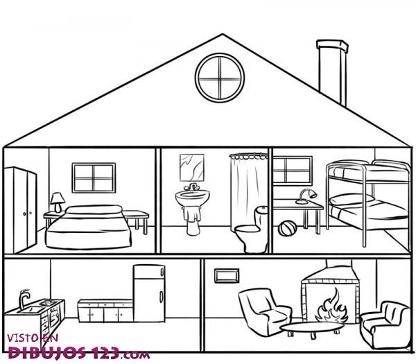 Interior de una casa para colorear