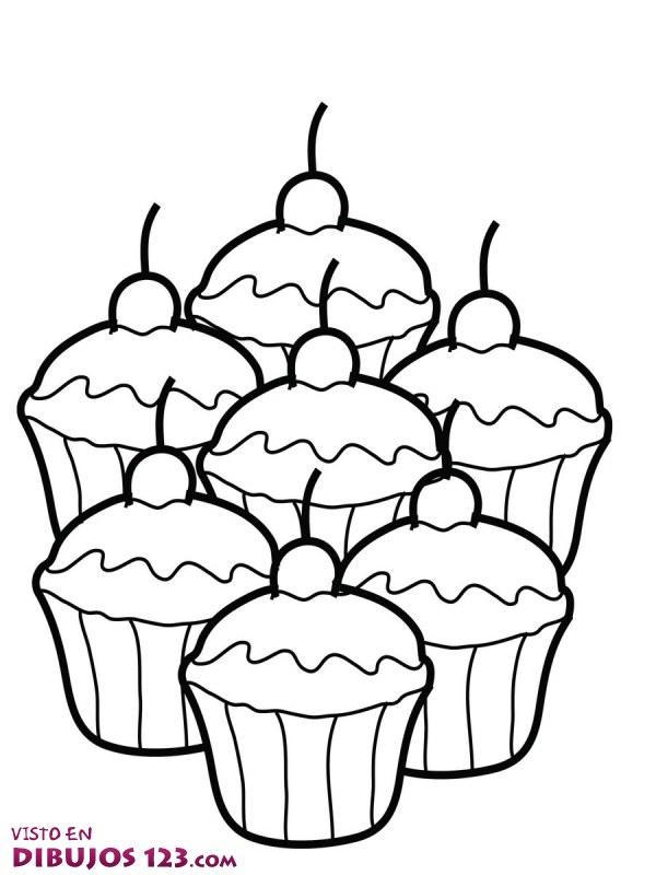 Siete cupcakes para colorear