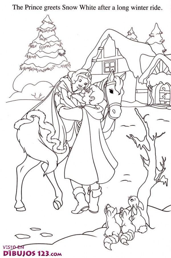 Blancanieves llega de viaje con su príncipe