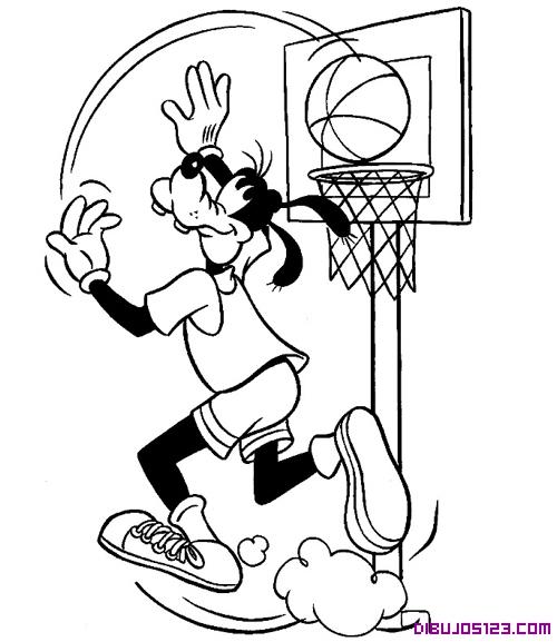 Goofy jugando al basket para colorear