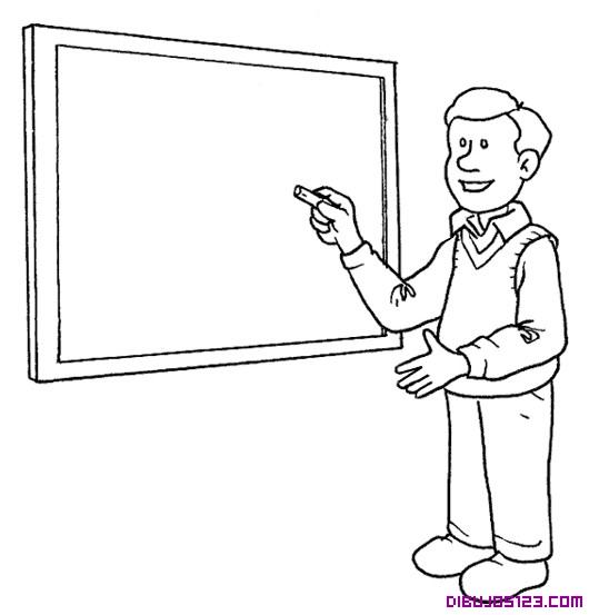 Dibujo de un maestro en la pizarra