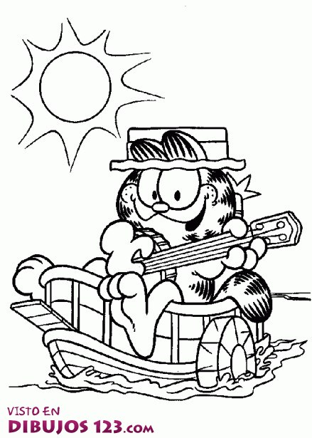 Garfield tocando la guitarra