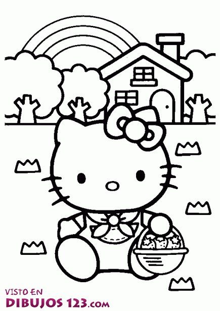 Hello Kitty recogiendo fresas