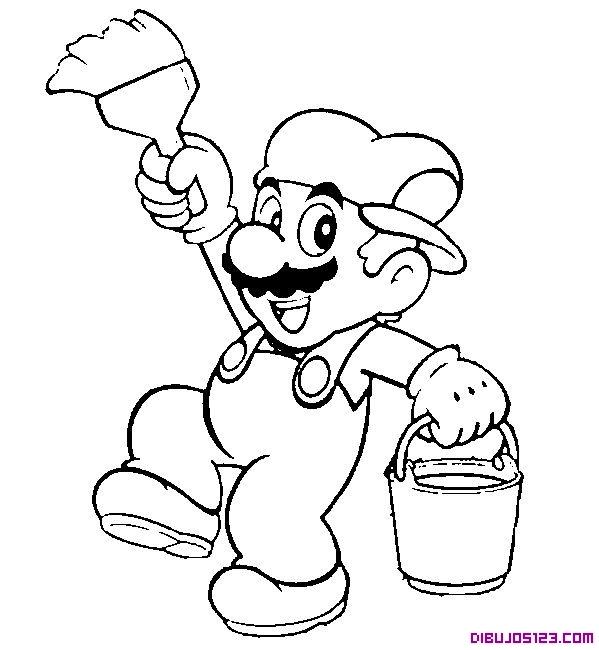 Dibujo de Mario Bros de pintor