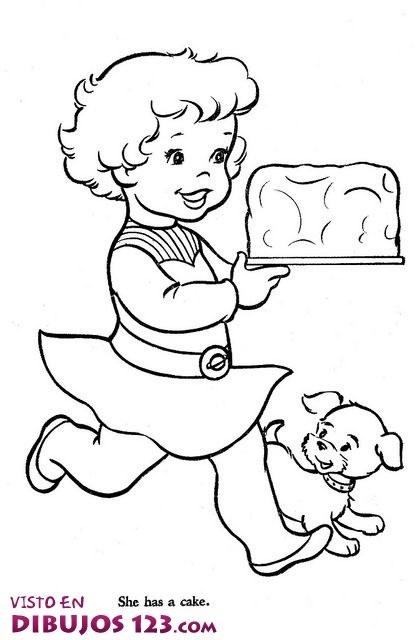 La niña feliz con su pastel