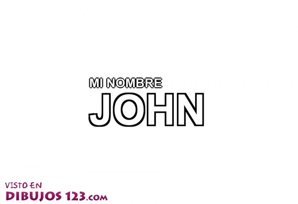 Nombre John para colorear