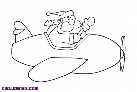 Papa noel volando en avion dibujo para colorear