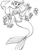 Ariel con caballitos de mar para colorear