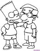 Bart Simpsons y Milhouse los mejores amigos
