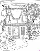 Casa de fantasmas para colorear