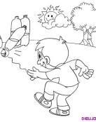 Dibujo de un niño jugando a los bolos