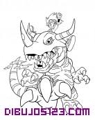 Taiki sobre el monstruo Greymon