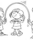 Dibujo de niños saltando a la comba
