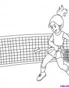 Chica jugando un partido de tenis