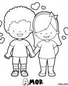 Dibujo de niños enamorados