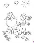 Dibujo de niños enamorados en el campo