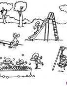 Niños montando en los colompios