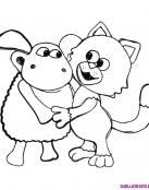 Oveja y gato buenos amigos
