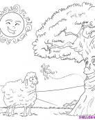Ovejita se divierte hablando con un árbol