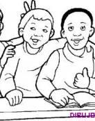 Dibujo de tres amigos en la escuela