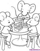 Tres ratones comiendo tarta de queso