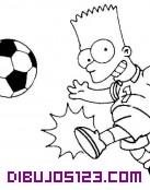 Bart Simpson jugando al fútbol