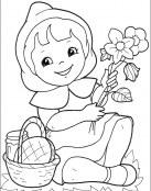 Caperucita recogiendo flores