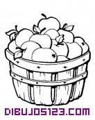 Cesto con manzanas para colorear