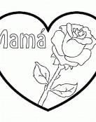 Corazón con rosa para mamá