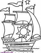 Barco antiguo con un sol