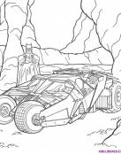 Dibujo de Batman y ell Batmovil en la cueva