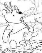 Dibujo de Winnie y sus amigos en una charca