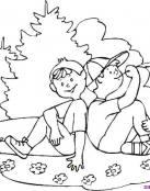 Dibujo de amigos en el campo