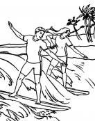 Dibujos de deportes dos amigos haciendo surf