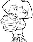 Dora recogiendo manzanas