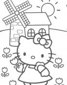 Dibujo de Hello Kitty y un Molino