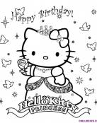 Hello Kitty de princesa y cumpleaños