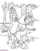 Bella montando a caballo para colorear